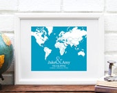 Long Distance World Map, Personalized Map of the World, Best Friend Gift, Military Retirement, Deployment, Anniversary Gift - 8x10 Art Print
