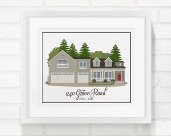 Custom Home illustration, Personalized Gift for Parents, House Portrait, Home Sweet Home, Grandma's House, Closing Gift - 8x10 Art Print