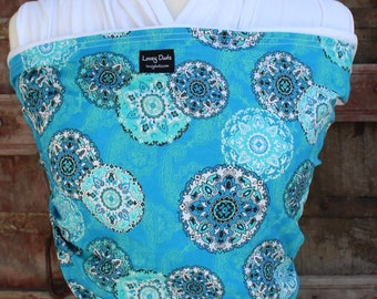 ORGANIC COTTON Baby Wrap-Sling Carrier- Hands-Free Carrier-Blue Paisley-Our Wraps Are One Size Fits All-DvD Included