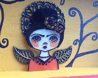 Frida Muse.  Original Mixed Media Art