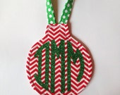 Res Chevron Ornament with Green Glitter Circle Monogram