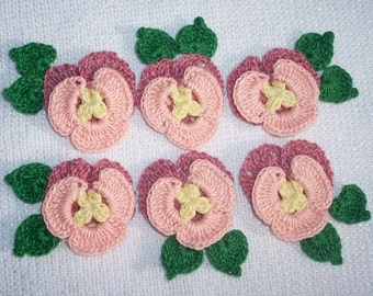 6 handmade cotton thread crochet applique pansies with leaves  --  426