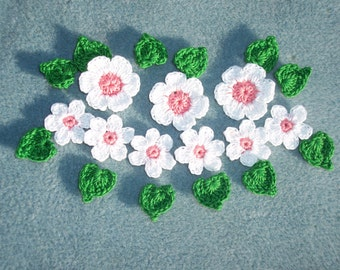 pink and white crochet applique flowers with leaves -- 1748