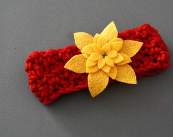 Infant Girls Red & Yellow Felt Flower Ear Warmer Headband Crochet