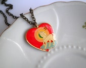Vintage Unicorn Heart Charm Necklace by So Very Charming, Magical Unicorn Rainbow Love Good Luck Pendant, Retro Enamel Heart, New Old Stock