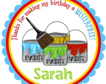 Art Stickers, Art party, Paint Cans and Paintbrush, ROUND, Personalized Stickers, Painting Party, Birthday,  favor, labels, set of 12