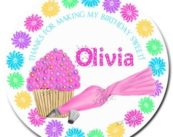 Cupcake Birthday Stickers, Cupcake stickers, Cupcake  decorating party, Icing Cupcakes,baking labels,  Cooking,  Gift Stickers, Baked Goods