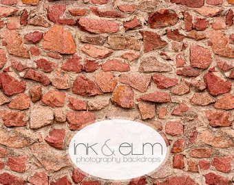 "Brick Wall Backdrop 2ft x 2ft, Vinyl Photography Food Backdrop, Rock Brick Wall Small Product Food or Cookie backdrop ""Bricks and Stones"""