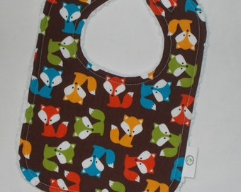 Brown Foxes and Chenille Bib
