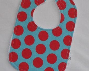 Red and Aqua Polka Dots and Chenille Bib