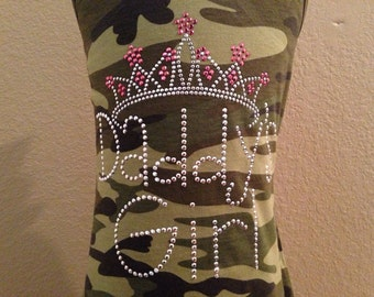 DADDY'S GIRL with crown rhinestud tank by 1286 Kids (formerly Daisy Creek Designs)
