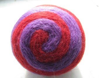 One multi-colored felted pin-cushion, Purple and Red
