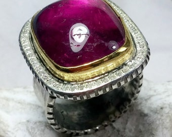 Huge Tourmaline and Diamond Ring, Statement Ring, Multi stone ring