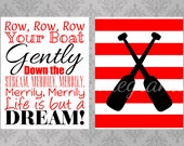 Printable Wall Decor, Nursery Rhyme and Oars, Row Your Boat Art Poster