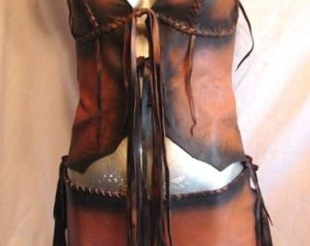 Leather Halter Top and Loincloth Set COMICON Distressed Belly Dance Outfit LARP Fairy Renaissance Outfit Corset Handmade by Debbie leather