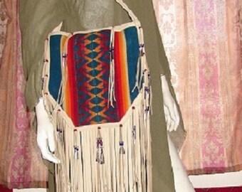 """Fringed Leather Handbag """"POW WOW BAG"""" Hobo Bag Beige Deerskin with Vintage Pendleton Wool Flap Regalia Purse Handmade by Debbie Leather"""