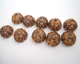 Vintage Brass Filigree Bead Cap Findings