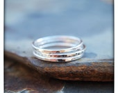 Three Skinny Sterling Silver Stacking Ring Set - Size 6.5