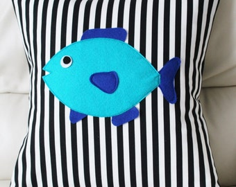 "Fish Pillow Cover - Blue Fish Pillow Cover - Fish Cushion Cover - 16"" x 16"" pillow cover - Ready to ship"
