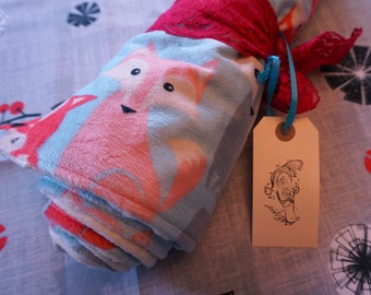 Blue Pink Fox Stroller Blanket