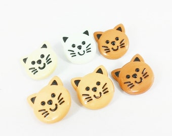 Cat Face Buttons, Mixed color in 6 Button, Plastic Button, Cute Button, 6/8 inch button, Shank Button
