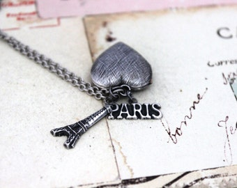 paris. heart locket necklace. in silver ox with etched lines