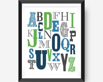 Alphabet wall art, nursery or kids room printable wall art, 8x10 Printable, alphabet art Instant Download, Wall Art Typography