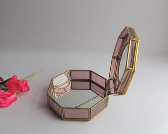 Vintage Trinket Box Pink Box Octagon Box Storage Box Jewelry Box