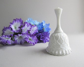 Vintage Milk Glass Bell Fenton Spanish Lace Silver Crest Bell