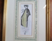 Cloche Flapper Vintage 1920s Fashion Plate Picture Gold Wood Frame Ornate Matte