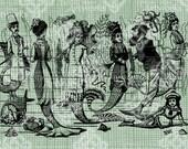 Digital Download Victorian Mermaids, Antique Illustration, Vintage drawing, digi stamp, Steampunk Mermaid Merman