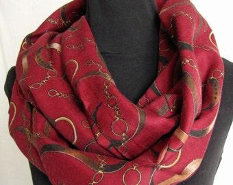 Scarf Accessory Infinity Circular Womens Fashion in Rich Burgundy Gold Soft Draping Fabric