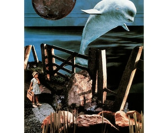 Girl and Whale- collage surreal, fantasy LIMITED Edition Archival Print