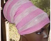 Headband-Tube-Dreadlocks-Pink stripes Glitter-Locs-Natural Hair-Virtuous Creations