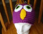 Crochet Grape Owl Beanie, Animal, Accessory,Teen/Adult