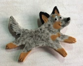 Ceramic Mosaic Tile or Brooch Pin Porcelain Australian Cattle Dog