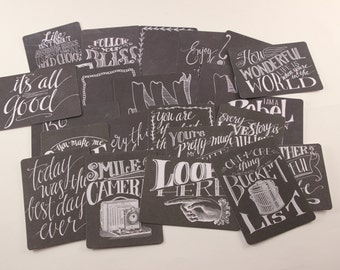Chalkboard Journaling Cards  - 24 pcs - scrapbooking, altered art, cottage chic, packaging, gift wrapping, card making
