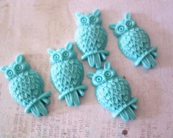Owl Cabochon - Aqua Blue - resin CHARMS - Set of 5 - Scrapbooking, Jewelry Design, Altered Art - Maya RoaD