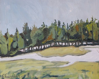 Small Plein Air Landscape Oil Painting Original Impressionist Eastern Townships Quebec Canada Fournier ''A Melting Strip Of Snow '' 10 x 12