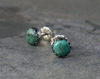 Desert Dreaming Turquoise Stud Earrings, Sterling Silver Studs, Oxidized Finish, Natural Turquoise Post Earrings, Serrated Bezel, Cabochon