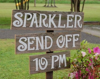 Sparkler Send Off Sign, Rustic Reception Signs, Romantic Outdoor Weddings, Hand Painted Sign, Reclaimed Wood Signs, Vintage Weddings