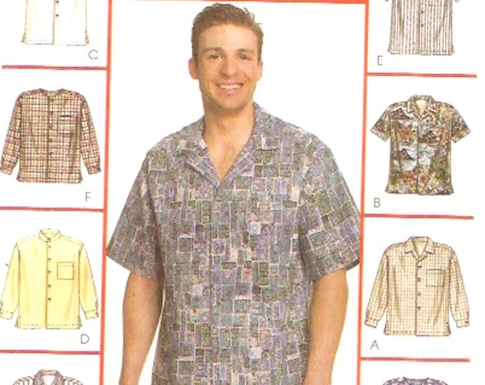 Mens Summer shirt McCalls 2149 sewing pattern casual style short or long sleeved Chest 42 to 44 UNCUT