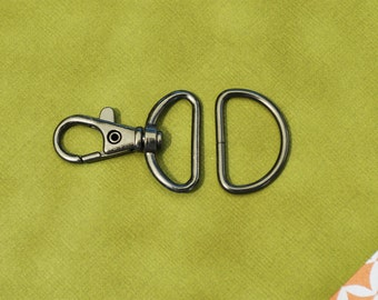 FREE SHIPPING--40 sets of 1 inch Loop End Gunmetal Swivel Clasps Lobster Claw Hooks and 40 of 1 inch Gunmetal D Rings