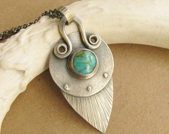 Kingman Turquoise Necklace, Argentium Sterling Silver Necklace, Riveted Turquoise Pendant Necklace, Riveted Art Jewelry, Metalsmith Jewelry