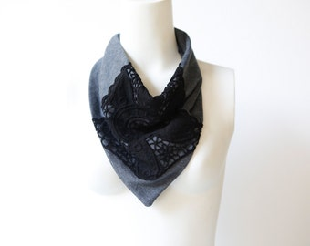 Neckerchief Scarf Cowl Black Lace and Blue Gray Reversible