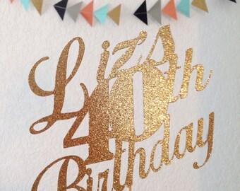 Glitter Gold Cardstock Birthday Cake Topper