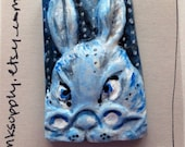 Easter Handmade clay rabbit face blue white  goddess   jewelry craft supplies  cabochon  mosaics dolls  gesichter parts spirit tile
