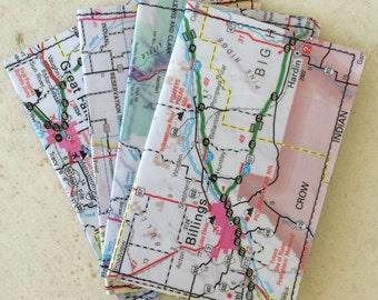 Slim Wallet- Montana- Vintage Map- choose 1