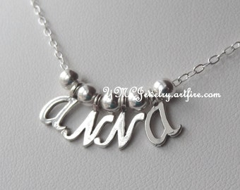 Petite Sterling Silver Name  Necklace, Name Necklace, Mom Necklace, Girl Name Necklace, Flower Girl Necklace,