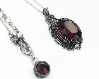 Burgundy Necklace Gothic Jewelry Gothic Necklace Burgundy Swarovski Necklace Silver Filigree Burgundy romantic womens gothic gift